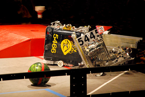 Tangled up with our alliance partner (Somehow they fell off the ramp in autonomous mode, causing us to miss the bowling ball.  We did, however, barely make it into the parking zone for some points.)